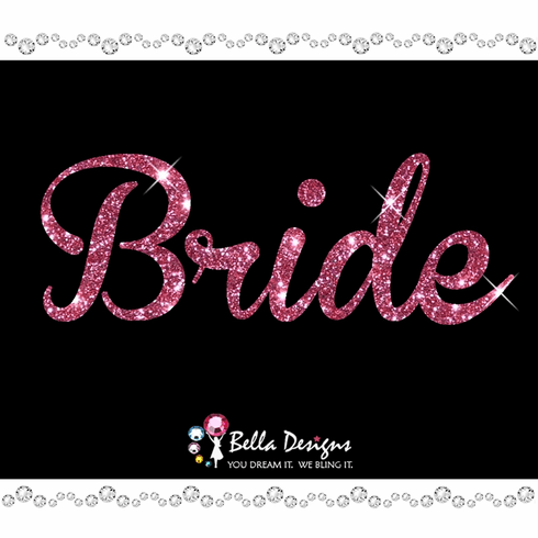 Glitter Bride (pink or silver) Iron on