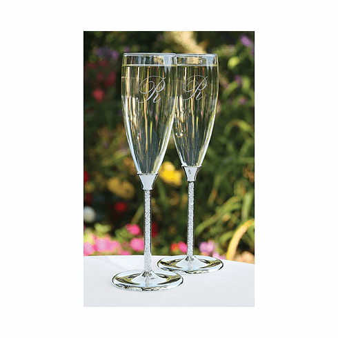 Glittering Beads Toasting Flutes