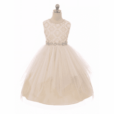 2139b5cc2d Good Girl 3573 Champagne Sleeveless Lace Contrast Double Tulle Dress w   Bejeweled Waist