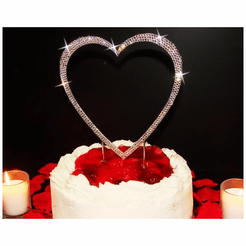 Heart Cake Topper covered in Crystal