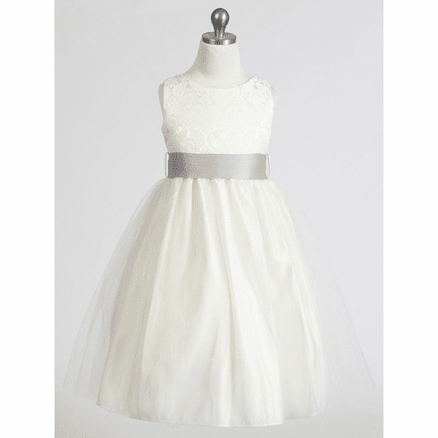 Jacquard Bodice w/ Tulle Skirt & Removable Sash