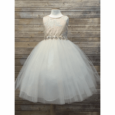 cf168d81a Princess Fashions Flower Girl Dresses. Luxurious Silk Top w/ Embroidered  Mesh Overlay & Rhinestone Belt Dress