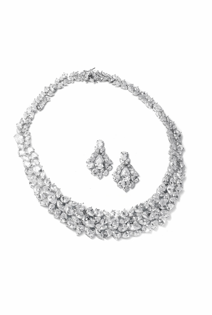 Mariell Bridal Necklace and Earring 2028s