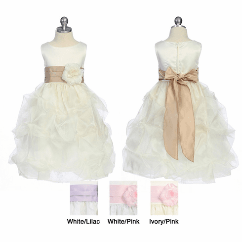 Matte Satin Bodice with Gathers Flower Girl Dress - 6 Colors