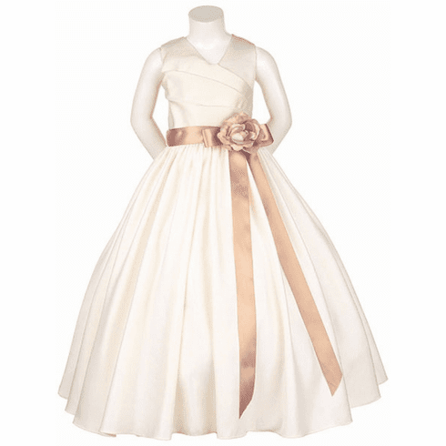 Matte Satin V-Neck w/ Detachable Sash and Flower