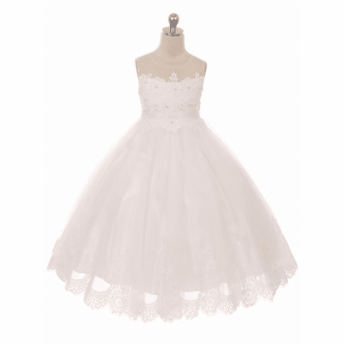 Mesh & Lace Bodice w/ Tulle Lace Skirt