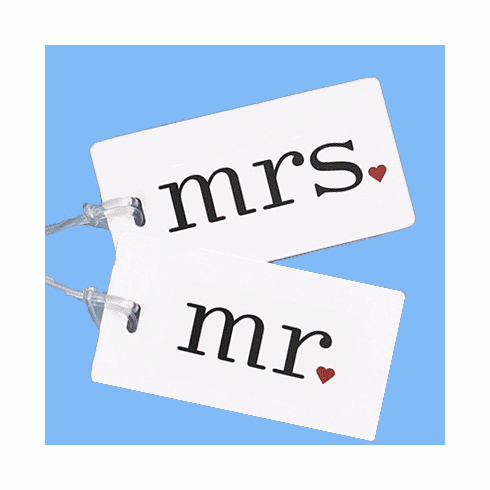 """Mr."" & ""Mrs."" Luggage Tag Set"