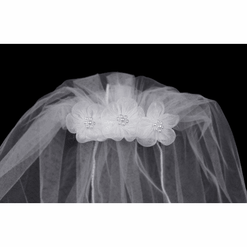 "*NEW* 18"" White Veil Comb w/ Organza Flowers"