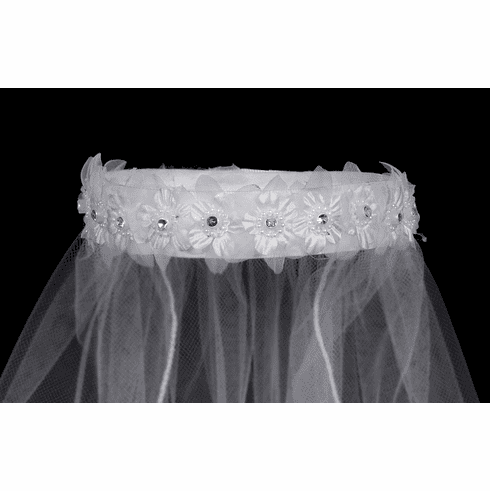 *NEW* 18in White Veil Bun Wrap w/ Flowers, Rhinestones, & Pearl Accents