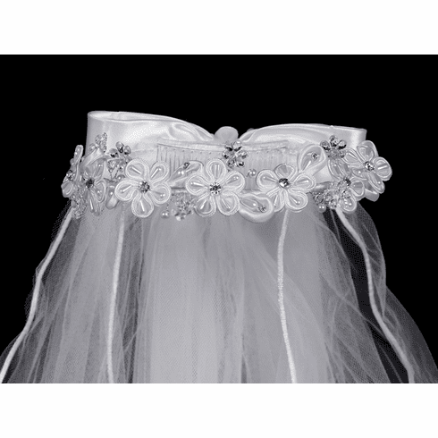 *NEW* 24in White Veil w/ Corded Flowers & Rhinestone accents w/ Satin Bow at Back