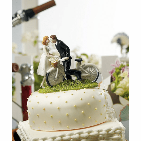 """*NEW* """"A Kiss Above"""" Bicycle Bride and Groom Couple Figurine"""