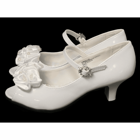 *NEW* Kids White Peep Toe Dress Shoe w/ Satin Flowers