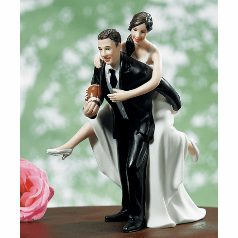 Playful Football Wedding Couple Figurine