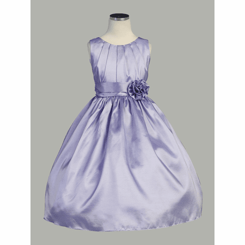Pleated Solid Taffeta Dress w/ Hand Rolled Flower