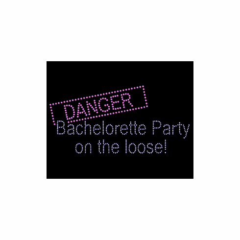 RHINESTONE Danger Bachelorette Party on the Loose Iron on