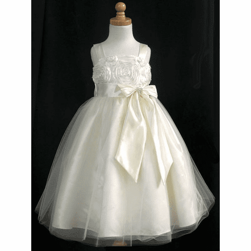 Ribbon Embroidered Taffeta Bodice & Satin Skirt w/Tulle Overlay