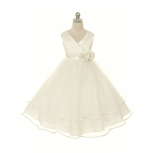 Satin Bodice with Layered Tulle Skirt