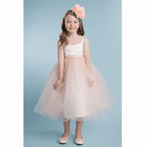 Satin & Tulle Dress w/ Sash