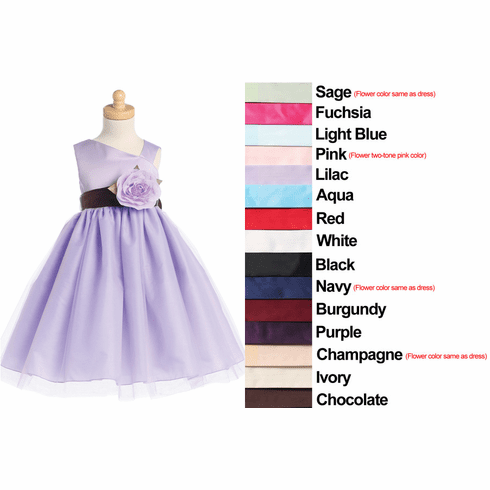 Sleeveless Satin Bodice and Tulle Skirt with Detachable Flower and Sash Flower Girl Dress - 15 Colors