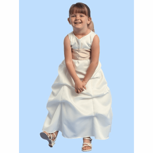 Sleeveless Satin Gathered A-Line Dress w/Detachable Sash
