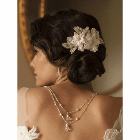 Sophisticated Handmade Bridal Comb with Beaded & Floral Ivory Lace Applique