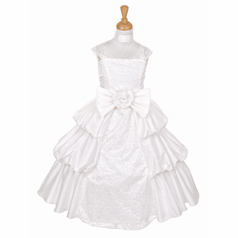 Taffeta Layered Dress w/ Lace
