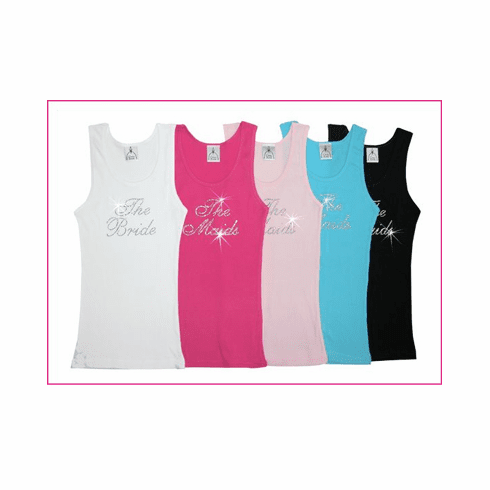 The Bride & The Maids Tank Tops with Clear Crystals
