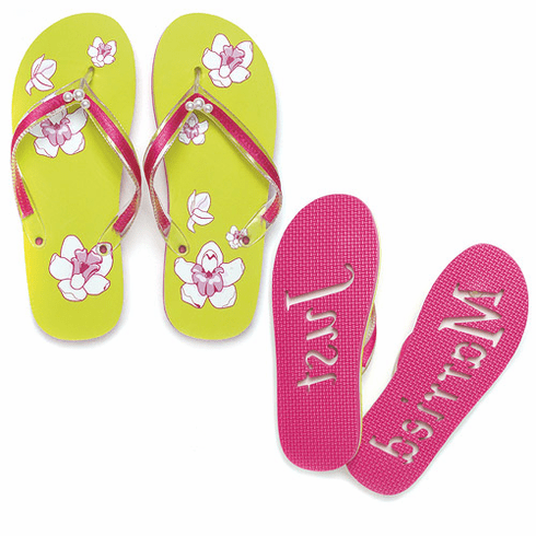 Tropical Orchid Just Married Wedding Flip Flop Sandals