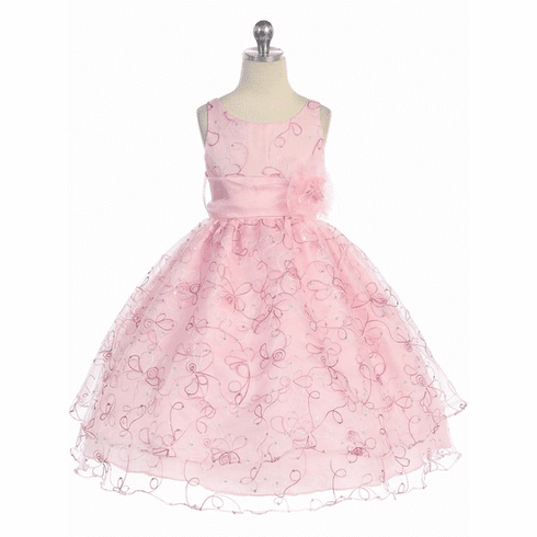 Two Layer Embroidered Organza Dress