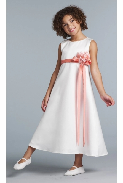 Us Angels Flower Girl Satin A-Line Dress Style 305