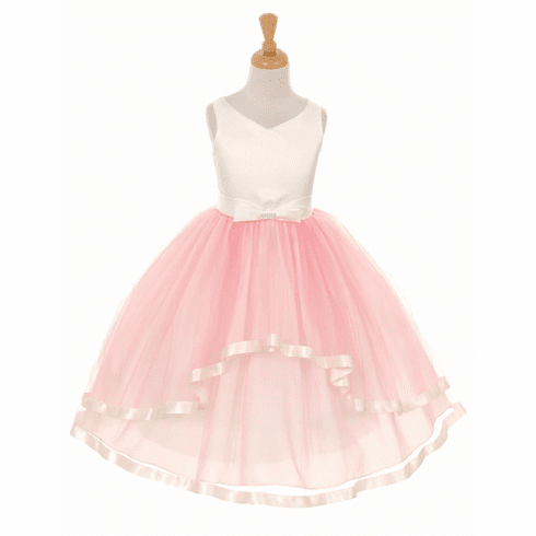 V-Neck Satin Bow 3 Layer Tulle Dress