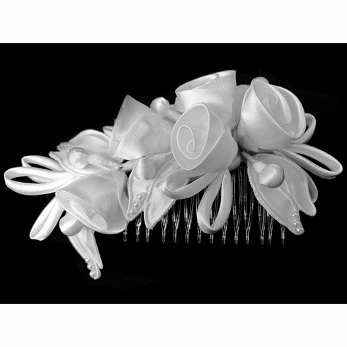 White rolled satin rose hair comb