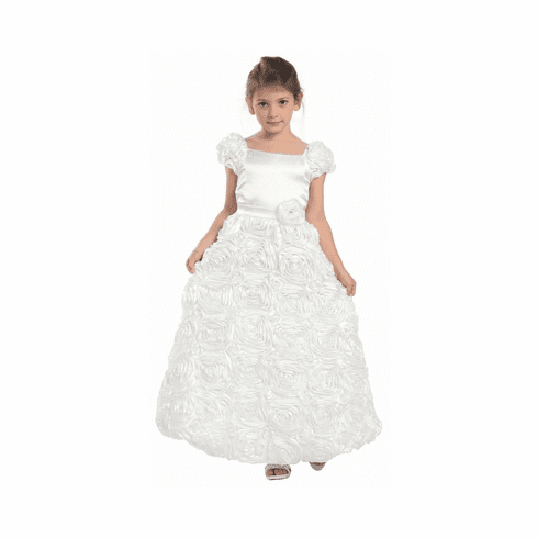White Rose Patch Dress w/Short Sleeves