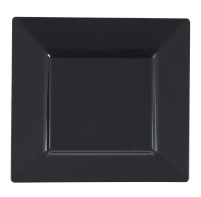 "10 3/4"" Black Square Dinner Plastic Plates *Case of 120*"