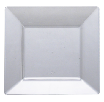 """10 3/4"""" Clear Square Dinner Plastic Plate 10ct."""