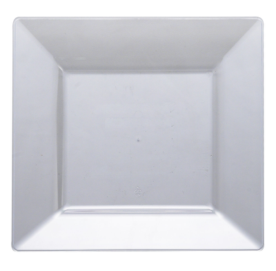 "10 3/4"" Clear Square Dinner Plastic Plate 10ct."