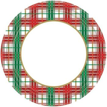 "10"" Christmas Plaid Paper Banquet Plates 20ct."