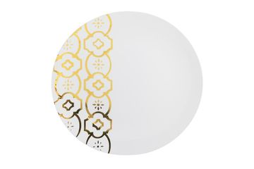 "Moroccan 10"" Gold / White Wedding Plastic Party Dinner / Banquet Plates 10ct."