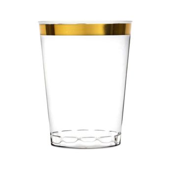 10 oz Clear Plastic Cups Old Fashioned Tumblers Gold Rimmed Fancy Disposable Wedding Cups for Elegant Party 16ct.