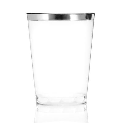 10 oz Clear Plastic Cups Old Fashioned Tumblers Silver Rimmed Fancy Disposable Wedding Cups for Elegant Party 16ct.