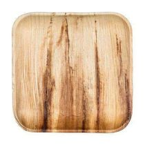 "10"" Square Eco Friendly Disposable Dinner Wood Plates 25ct."