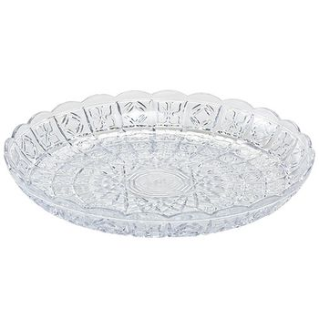 "11"" Round Crystal Cut Plastic Tray"