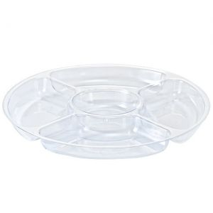 "12"" Clear 5 Compartment Plastic Platter"