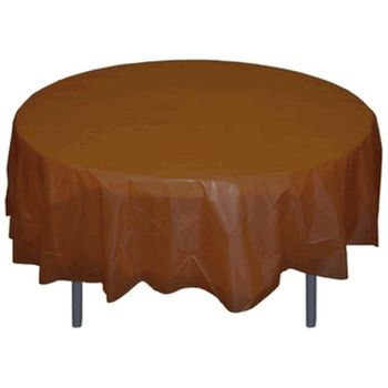 "*12 Count* Brown 84"" Round Plastic Tablecloths"