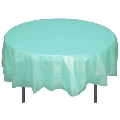 """*12 Count* Aqua 84"""" Round Plastic Tablecloths Table Covers"""