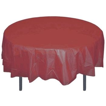"*12 Count* Burgundy 84"" Round Plastic Tablecloths"