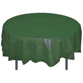 "*12 Count* Hunter Green 84"" Round Plastic Tablecloths"