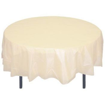 """*12 count* Ivory 84"""" Round Plastic Tablecloths"""