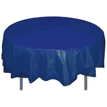 "*12 Count* Navy Blue 84"" Round Plastic Tablecloths"
