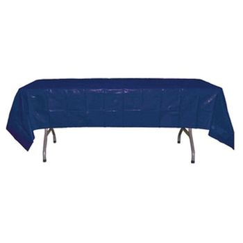 "*12 Count* Navy Blue Rectangular Plastic Tablecloths 54"" x 108"""